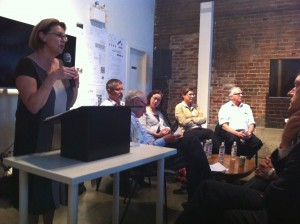 SCARP's Penny Gurstein introduces panelists at opening night of conference at Interurban Gallery - Vancouver B.C.